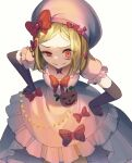 1girl bangs black_gloves blonde_hair bow creepy_eyes dress elbow_gloves evil_smile gloves highres jewelry lambdadelta magonuri necklace parted_bangs pearl_necklace pink_dress pink_headwear pumpkin red_eyes smile solo umineko_no_naku_koro_ni