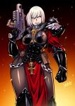 1girl adepta_sororitas armor bolt_pistol bolter chain embers english_commentary eyebrows_visible_through_hair fleur_de_lis gun highres holding holding_gun holding_weapon leggings looking_to_the_side pauldrons pouch power_armor rosary ryuusei_(mark_ii) scar scar_across_eye shoulder_armor signature sister_of_battle skull solo warhammer_40k weapon white_hair