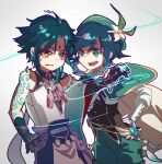 2boys ahoge arm_tattoo bare_shoulders bead_necklace beads belt black_gloves detached_sleeves eyebrows_visible_through_hair feathers flower genshin_impact glacierhst gloves gradient gradient_background gradient_hair green_eyes green_hair green_headwear grey_background hand_on_hip hat hat_flower jewelry long_sleeves male_focus multicolored_hair multiple_boys necklace open_mouth sweat tattoo upper_teeth venti_(genshin_impact) vision_(genshin_impact) white_flower wide_sleeves xiao_(genshin_impact) yellow_eyes