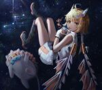 1girl absurdres ahoge animal bangs black_footwear blonde_hair blue_ribbon boots collared_dress commentary_request cup dress drinking drinking_straw drinking_straw_in_mouth full_body gloves highres holding holding_cup huge_filesize knee_boots leg_up mechanical_ears mechanical_wings mirage_(rairudiseu) ribbon short_hair sleeveless sleeveless_dress solo space spacesuit white_dress white_gloves wings zutto_mayonaka_de_ii_no_ni