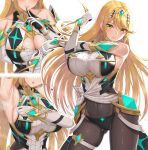1girl armpits black_legwear blonde_hair blush breasts cleavage_cutout clothing_cutout earrings finger_to_mouth gloves highres jewelry large_breasts long_hair multiple_views mythra_(xenoblade) navel nemunemu_semi open_mouth pantyhose shiny shiny_clothes solo stretch super_smash_bros. sweat very_long_hair white_gloves xenoblade_chronicles_(series) xenoblade_chronicles_2 yellow_eyes