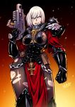 1girl adepta_sororitas armor blood blood_on_face bolt_pistol bolter chain cuts embers english_commentary eyebrows_visible_through_hair fleur_de_lis gun highres holding holding_gun holding_weapon injury leggings looking_to_the_side pauldrons pouch power_armor rosary ryuusei_(mark_ii) scar scar_across_eye shoulder_armor signature sister_of_battle skull solo torn_clothes torn_legwear warhammer_40k weapon white_hair