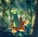 commentary_request forest from_below gen_2_pokemon light_beam looking_up meganium nasuno_posi nature no_humans open_mouth pokemon pokemon_(creature) solo standing tree yellow_eyes