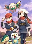 1boy 1girl black_hair closed_mouth clouds commentary_request cyndaquil eyelashes female_protagonist_(pokemon_legends:_arceus) floating_scarf gen_2_pokemon gen_5_pokemon gen_7_pokemon grass grey_eyes hand_on_headwear hat head_scarf highres holding holding_poke_ball makoto_ikemu male_protagonist_(pokemon_legends:_arceus) oshawott outdoors poke_ball poke_ball_(legends) pokemon pokemon_(game) pokemon_legends:_arceus red_headwear red_scarf rowlet sash scarf short_hair sidelocks signature sky smile standing