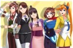 5girls arms_behind_back ayasato_chihiro ayasato_mayoi bag bangs black_hair blue_cape blue_eyes brown_hair cape chemicals deviantart deviantart_username googles googles_on_head gyakuten_saiban happy houdzuki_akane houzuki_akane kizuki_kokone labcoat long_hair magatama magatama_necklace miniskirt naruhodou_ryuuichi necklace orange_hair perse ponytail pose purple_bow purple_kimono side_ponytail sincity2100 smile suit yellow_jacket