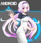 .live 1girl alternate_costume black_background blush carro_pino commentary_request detroit:_become_human hair_ornament headband highres long_hair looking_at_viewer low_twintails pants purple_hair rikuton shirt simple_background smile solo twintails violet_eyes waving