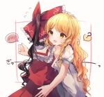 2girls ? bangs blonde_hair bow braid brown_hair eyebrows_visible_through_hair hair_bow hakurei_reimu holding_another hug kirisame_marisa long_hair moshihimechan multiple_girls no_hat no_headwear nontraditional_miko open_mouth red_bow red_ribbon red_shirt red_skirt ribbon ribbon-trimmed_sleeves ribbon_trim shirt short_sleeves side_braid single_braid skirt smile speech_bubble spoken_blush spoken_question_mark square standing sweatdrop touhou white_background white_bow wide_sleeves yellow_eyes