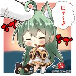 1boy 1girl :3 :d ahoge akashi_(azur_lane) animal_ears azur_lane blush cat_ears chibi commander_(azur_lane) commentary_request eyebrows_visible_through_hair gloves green_hair long_hair looking_at_viewer minigirl mole mole_under_eye open_mouth petting pov sidelocks signature simple_background size_difference sleeves_past_wrists smile standing taisa_(kari) translation_request twitter_username two-tone_background white_gloves wide_sleeves