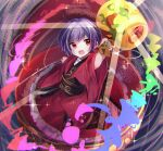 1girl bangs bowl eyebrows_visible_through_hair full_body highres holding holding_mallet holding_sword holding_weapon in_container japanese_clothes kimono light_particles long_sleeves mallet miracle_mallet moshihimechan no_hat no_headwear open_mouth purple_hair rainbow_order red_eyes red_kimono sash short_hair smile solo sukuna_shinmyoumaru sword touhou v-shaped_eyebrows weapon wide_sleeves