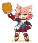 1girl 7th_dragon 7th_dragon_(series) :d animal_ear_fluff animal_ears bangs belt belt_buckle bike_shorts black_footwear black_shorts blue_jacket blush boned_meat boots buckle cat_ears chibi colored_shadow commentary_request eyebrows_visible_through_hair fang food full_body gloves green_eyes hair_between_eyes hair_bobbles hair_ornament harukara_(7th_dragon) highres holding holding_food jacket long_sleeves looking_at_viewer meat naga_u one_side_up open_mouth pink_hair red_gloves shadow short_shorts shorts smile solo sparkle standing striped striped_legwear thigh-highs thighhighs_under_boots v-shaped_eyebrows white_background white_belt