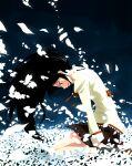 1girl akemi_homura arms_at_sides back_bow bags_under_eyes black_hair black_skirt bow brown_footwear expressionless field floating_hair flower flower_field from_side fujimaruu grey_legwear half-closed_eyes head_down highres hill juliet_sleeves long_hair long_sleeves looking_down mahou_shoujo_madoka_magica mahou_shoujo_madoka_magica_movie messy_hair mitakihara_school_uniform neck_ribbon night night_sky outdoors parted_lips petals plaid plaid_skirt pleated_skirt profile puffy_sleeves red_ribbon ribbon school_uniform shoes sitting skirt sky socks solo uniform violet_eyes white_flower wind wind_lift
