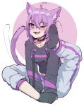 1girl animal_ear_fluff animal_ears black_collar black_hoodie cat_ears cat_girl cat_tail collar collarbone english_commentary foot_up highres hololive hood hoodie k-rha's looking_to_the_side nekomata_okayu one_eye_closed pants purple_hair reward_available scratching_head short_hair sitting socks soles solo sweatpants tail tail_wagging violet_eyes virtual_youtuber