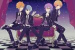 4boys aoyagi_touya arm_up black_footwear black_jacket black_neckwear black_pants blue_hair butler buttons checkered checkered_floor commentary constellation couch curtains expressionless finger_to_mouth formal full_body gloves gradient gradient_background grey_eyes grey_vest hand_on_lap hand_on_own_chin jacket kamishiro_rui leaning_on_object looking_at_viewer multicolored_hair multiple_boys necktie open_mouth orange_hair pants project_sekai purple_hair shinonome_akito short_hair sitting smile socks streaked_hair tenma_tsukasa two-tone_hair vest white_gloves white_legwear yellow_eyes yoshiki