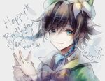 1boy androgynous bangs beret black_hair blue_hair bow braid cape character_name closed_mouth collared_cape collared_shirt english_commentary english_text flower frilled_sleeves frills genshin_impact gradient_hair green_eyes green_headwear hands_together happy_birthday hat hat_flower hazel_(silver_vine) leaf long_sleeves looking_at_viewer male_focus multicolored_hair shirt smile solo star_(symbol) symbol_commentary twin_braids venti_(genshin_impact) white_flower white_shirt