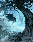1boy anatofinnstark armor artist_name bare_tree black_cloak cloak fog forest horse lord_of_the_rings nature nazgul outdoors riding scenery solo torn_cloak torn_clothes tree