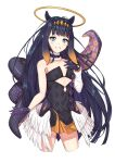 1girl absurdres bare_shoulders black_dress black_gloves black_hair blue_eyes brown_hair commentary cropped_legs detached_sleeves dress feathered_wings gloves gradient_hair grin halo highres hololive hololive_english long_hair long_sleeves looking_at_viewer low_wings multicolored_hair ninomae_ina'nis senguyen1011 simple_background single_detached_sleeve smile solo strapless strapless_dress tentacles very_long_hair virtual_youtuber white_background white_sleeves white_wings wings