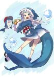 1girl animal_hood bare_legs bloop_(gawr_gura) blue_background blue_eyes blue_hair blue_hoodie blue_legwear blush bubble commentary eating fish_tail food full_body gawr_gura hamburger highres holding holding_food hololive hololive_english hood hood_up hoodie large_tail looking_at_viewer medium_hair multicolored_hair open_mouth shark_hood shark_tail sharp_teeth shoes silver_hair simple_background socks star_(symbol) streaked_hair tail teeth two-tone_hair ushiki_yoshitaka virtual_youtuber white_background white_footwear