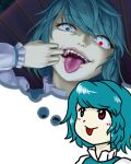 1girl :p bangs blue_eyes blue_hair blue_vest blush blush_stickers closed_mouth commentary constricted_pupils eyebrows_visible_through_hair fangs frilled_shirt frills glowing glowing_eye heterochromia imagining juliet_sleeves karakasa_obake long_sleeves looking_at_viewer mouth_pull open_mouth parasite_oyatsu parody puffy_sleeves red_eyes shirt short_hair simple_background style_parody tatara_kogasa teeth thought_bubble tongue tongue_out touhou umbrella upper_body vest white_background white_shirt zun_(style)