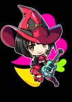 1girl black_hair boots chibi electric_guitar guilty_gear guitar hat i-no instrument red_headwear red_legwear short_hair thigh-highs thigh_boots witch_hat