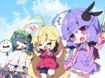 +++ 4girls :< :d ^^^ ^_^ ahoge antenna_hair bangs black_dress black_footwear black_shorts blonde_hair blue_eyes breasts chibi closed_eyes collared_dress commentary_request dress eyebrows_visible_through_hair flag frilled_dress frills green_hair green_hairband hair_between_eyes hairband headphones headphones_around_neck holding holding_flag ia_(vocaloid) jacket long_sleeves medium_breasts milkpanda multiple_girls notice_lines open_clothes open_jacket open_mouth parted_lips pink_jacket purple_dress purple_hair red_shirt shirt shoes short_eyebrows short_shorts short_sleeves shorts sleeves_past_fingers sleeves_past_wrists small_breasts smile standing standing_on_one_leg thick_eyebrows touhoku_zunko triangle_mouth tsurumaki_maki violet_eyes vocaloid voiceroid white_hair yuzuki_yukari