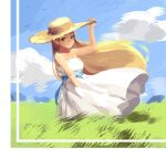1girl adjusting_clothes adjusting_headwear arm_up bare_shoulders blue_sky clouds cloudy_sky collarbone commentary_request day dress grass green_eyes hat looking_at_viewer off-shoulder_dress off_shoulder outdoors princess_zelda sky solo standing straw_hat the_legend_of_zelda the_legend_of_zelda:_breath_of_the_wild thick_eyebrows werlosk white_dress wind