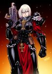 1girl adepta_sororitas armor bolt_pistol bolter chain embers english_commentary eyebrows_visible_through_hair fleur_de_lis gun highres holding holding_gun holding_weapon looking_to_the_side pauldrons pouch power_armor rosary ryuusei_(mark_ii) scar scar_across_eye shoulder_armor signature sister_of_battle skull solo warhammer_40k weapon white_hair
