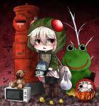 1girl 1other arai-san_mansion backpack bag bird black_hands boots chibi commentary_request daruma_doll eyebrows_visible_through_hair frog glowing grey_hair hair_between_eyes highres holding hood hooded_jacket hoodie jacket kemono_friends looking_at_viewer lucky_beast_(kemono_friends) microwave plant potted_plant red_eyes scavenger-chan_(abubu) statue striped striped_hoodie stuffed_animal stuffed_toy teddy_bear touyakakasi toy translation_request