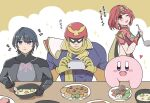 1girl 3boys apron bangs black_gloves breasts byleth_(fire_emblem) byleth_(fire_emblem)_(male) captain_falcon chest_jewel earrings f-zero fingerless_gloves fire_emblem fire_emblem:_three_houses food gloves hair_ornament headpiece helmet highres hotatechoco_(hotariin) jewelry kirby kirby_(series) large_breasts multiple_boys pyra_(xenoblade) red_eyes red_legwear red_shorts redhead short_hair short_shorts shorts smile super_smash_bros. swept_bangs thigh-highs tiara xenoblade_chronicles_(series) xenoblade_chronicles_2
