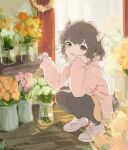 1girl :d animal_ear_fluff animal_ears bangs black_hair black_legwear brown_eyes brown_flower brown_hair brown_skirt commentary_request dog_ears dog_girl dog_tail eyebrows_visible_through_hair flower hood hood_down hooded_jacket indoors jacket long_sleeves looking_at_viewer open_clothes open_jacket open_mouth original pantyhose pink_flower pink_jacket pleated_skirt rose sansaro_rii shoes short_eyebrows skirt sleeves_past_wrists smile solo squatting tail thick_eyebrows vase white_flower white_footwear white_rose yellow_flower