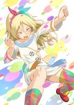 1girl alice_gear_aegis blonde_hair closed_mouth collarbone colorful commentary_request hair_between_eyes hairband miyaminami_hikari multicolored multicolored_clothes multicolored_legwear open_mouth pinakes red_footwear shirt smile solo white_shirt wide_sleeves