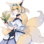 1girl animal_ear_fluff animal_ears arknights bangs bare_shoulders black_gloves blonde_hair blue_hairband blue_skirt blush braid commentary_request eyebrows_visible_through_hair flower fox_ears fox_girl fox_tail from_side gaeguribanchan gloves green_eyes hair_between_eyes hair_rings hairband headpiece highres holding holding_flower kitsune lily_of_the_valley looking_at_viewer looking_to_the_side multicolored_hair parted_lips pleated_skirt shirt simple_background single_glove single_wrist_cuff skirt solo suzuran_(arknights) tail two-tone_hair white_background white_flower white_hair white_shirt