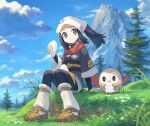 1girl arm_support black_hair chorefuji closed_mouth clouds commentary_request day eating eyelashes female_protagonist_(pokemon_legends:_arceus) gen_7_pokemon grass grey_eyes head_scarf holding long_hair looking_to_the_side mountain outdoors pokemon pokemon_(creature) pokemon_(game) pokemon_legends:_arceus ponytail rowlet sash scarf sidelocks sitting sky socks starter_pokemon tree white_headwear