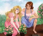 2girls alexa_(barbie) barbie barbie_in_the_diamond_castle barbie_movies bare_legs barefoot blue_dress blush brown_hair bun bustier closed_eyes corset dark_skin dating dirt domestic domestic_life dress feet feet_in_dirt feet_in_mud flower flower_behind_ear flower_field flower_in_hair flower_on_head friends garden gardener gardening girlfriends grass hair_in_bun hair_on_legs hair_pulled_back hairy_legs hand_on_knee heart_necklace historical lesbians liana_(barbie) looking_at_another matching_necklaces matching_outfit medieval necklace off_shoulder on_knees on_one_knee pink_dress pink_lips potted_plant princess princesses purple_dress roses sitting sitting_on_knees smiling squatting teresa teresa_(barbie) the_diamond_castle updo wavy_hair yuri