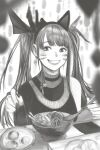 1girl animal_ears azelweien bare_shoulders blurry blurry_foreground blush bowl choker chopsticks earrings eyebrows_visible_through_hair facial_mark fake_animal_ears fingernails food greyscale highres holding holding_chopsticks jewelry long_fingernails long_hair monochrome original parted_lips plate smile solo table teeth turtleneck twintails whisker_markings