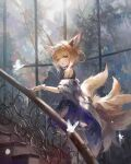 1girl absurdres animal_ear_fluff animal_ears aqua_hairband arknights blonde_hair blue_hairband bug butterfly close-up commentary daylightallure earpiece english_commentary fox_ears fox_girl fox_tail grey_hairband hair_ears hair_rings hairband highres insect kitsune kyuubi looking_at_viewer multiple_tails oripathy_lesion_(arknights) stairs stone_stairs suzuran_(arknights) tail window