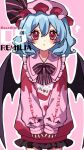 1girl :< alternate_costume bat_wings black_neckwear black_ribbon black_skirt blue_hair blush bow bowtie character_name clothes_writing commentary contemporary cowboy_shot hat hat_ribbon heart heart-shaped_pupils highres kyouda_suzuka looking_at_viewer medium_hair mob_cap pink_background pink_headwear pink_sweater red_eyes red_nails remilia_scarlet ribbon simple_background skirt sleeves_past_wrists solo sweater symbol-shaped_pupils touhou upper_body wings