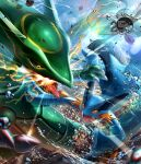 8686island anniversary battle black_sclera claws colored_sclera commentary_request copyright_name gen_3_pokemon highres legendary_pokemon no_humans open_mouth orange_eyes pokemon pokemon_(creature) rayquaza swampert tongue water water_drop