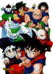 1990s_(style) 6+boys arms_up bald bangs black_eyes black_hair boots chaozu colored_skin cross_scar crossed_arms dougi dragon_ball dragon_ball_z father_and_son fighting_stance green_skin hat headband highres kuririn logo long_hair looking_at_viewer looking_away multiple_boys muscular namekian official_art outstretched_arms piccolo pointy_ears retro_artstyle saiyan scar scar_on_face serious short_hair simple_background son_gohan son_goku squatting tenshinhan third_eye toriyama_akira white_background white_skin wristband yajirobe yamcha