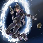 1girl airborne apex_legends bangs black_gloves black_hair blue_eyes bodysuit breasts explosive gloves glowing glowing_eyes grenade gun hair_bun handgun highres holding holding_gun holding_weapon jumping medium_breasts mohrefa open_hand pistol portal_(object) purple_scarf scarf science_fiction smile solo spikes throwing twisted_torso weapon wraith_(apex_legends)