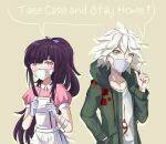 1boy 1girl alternate_hairstyle apron bandaged_arm bandages bangs blue_skirt coat collarbone covered_mouth covering_mouth danganronpa_(series) danganronpa_2:_goodbye_despair english_commentary english_text eyebrows_visible_through_hair gloves green_coat grey_hair hair_between_eyes hand_in_pocket hand_up hands_up highres hood hoodie komaeda_nagito lilshironeko long_hair long_sleeves looking_at_viewer mask mouth_mask pink_shirt ponytail print_shirt puffy_short_sleeves puffy_sleeves purple_hair ribbon shirt short_hair short_sleeves skirt speech_bubble surgical_mask tsumiki_mikan violet_eyes white_apron white_gloves white_hair