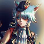 1girl animal_ears artist_name black_headwear blue_eyes cat_ears cravat eyelashes gradient gradient_background hair_over_one_eye hat hat_feather highres light_blue_hair lips long_hair looking_away looking_to_the_side mini_hat parted_lips paw_print pink_lips poririna solo upper_body white_cat_(ys) white_neckwear yellow_feathers ys ys_ix_monstrum_nox