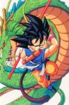 1990s_(style) 1boy black_eyes black_hair dougi dragon dragon_ball dragon_ball_gt holding holding_polearm holding_weapon looking_at_viewer monkey_tail nyoibo official_art polearm retro_artstyle saiyan serious shenlong_(dragon_ball) simple_background solo son_goku spiky_hair tail twisted_torso weapon white_background wristband