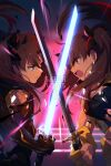 2girls bangs bare_shoulders black_bodysuit black_hair blue_bandeau bodysuit breasts cis05 clenched_teeth cropped_vest crossed_swords dual_persona earrings energy_sword fate/grand_order fate_(series) fingerless_gloves gloves gold_trim grey_eyes hair_ribbon hoop_earrings horns ishtar_(fate)_(all) jewelry katana long_hair medium_breasts multicolored_hair multiple_girls parted_bangs red_eyes redhead ribbon space_ishtar_(fate) sword teeth two-tone_hair two_side_up vest weapon yellow_gloves yellow_vest