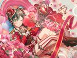bang_dream! black_hair blush dress hanazono_tae long_hair red_eyes smile valentine wink