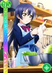 apron blue_hair blush brown_eyes character_name dress long_hair love_live!_school_idol_festival love_live!_school_idol_project sonoda_umi