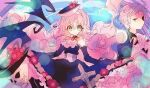 1boy 1girl black_dress black_headwear black_jacket blurry character_request choker dress dress_flower flower frills green_eyes hat hat_flower hibi89 jacket lens_flare long_dress long_hair looking_at_viewer merc_storia pink_flower pink_hair pink_rose red_flower red_rose rose skirt_hold skull
