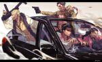 4boys abs akiyama_shun black_border black_eyepatch black_gloves black_hair black_pants black_shirt blonde_hair border cake car chain chest_tattoo coat dagger driving food fur_trim gloves gold_chain gouda_ryuuji grey_suit ground_vehicle gun hair_slicked_back handgun highres holding holding_gun holding_plate holding_weapon irei_yukitoshi jacket kiryuu_kazuma letterboxed majima_gorou male_focus motor_vehicle multiple_boys one_eye_covered open_clothes open_mouth pants planted_weapon plate profile red_jacket red_shirt ryuu_ga_gotoku scar scar_on_face shirt short_hair sideburns smile tattoo weapon white_coat yellow_jacket yellow_pants yellow_suit