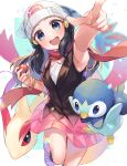 1girl :d beanie black_hair blurry bracelet commentary_request dawn_(pokemon) eyelashes floating_scarf gen_3_pokemon gen_4_pokemon hair_ornament hairclip hat highres holding holding_poke_ball jewelry long_hair looking_at_viewer milotic open_mouth ouri_(aya_pine) piplup poke_ball poke_ball_(basic) pokemon pokemon_(creature) pokemon_(game) pokemon_dppt red_scarf scarf sleeveless smile starter_pokemon teeth tongue white_headwear
