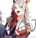 arknights coat earrings horns jewelry long_hair looking_at_viewer multicolored_hair nian_(arknights) nineo ponytail solo strapless streaked_hair tongue tongue_out tube tubetop violet_eyes