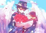 1boy 1girl angel angel_wings black_hair black_headwear blue_bow blush bouquet bow character_request closed_eyes feathered_wings flower glasses hair_ornament halo hat hibi89 hime_cut holding holding_bouquet long_hair merc_storia petals porkpie_hat rose smile white_wings wings